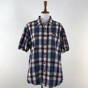 Eddie Bauer Blue & Red Plaid Button Down Shirt